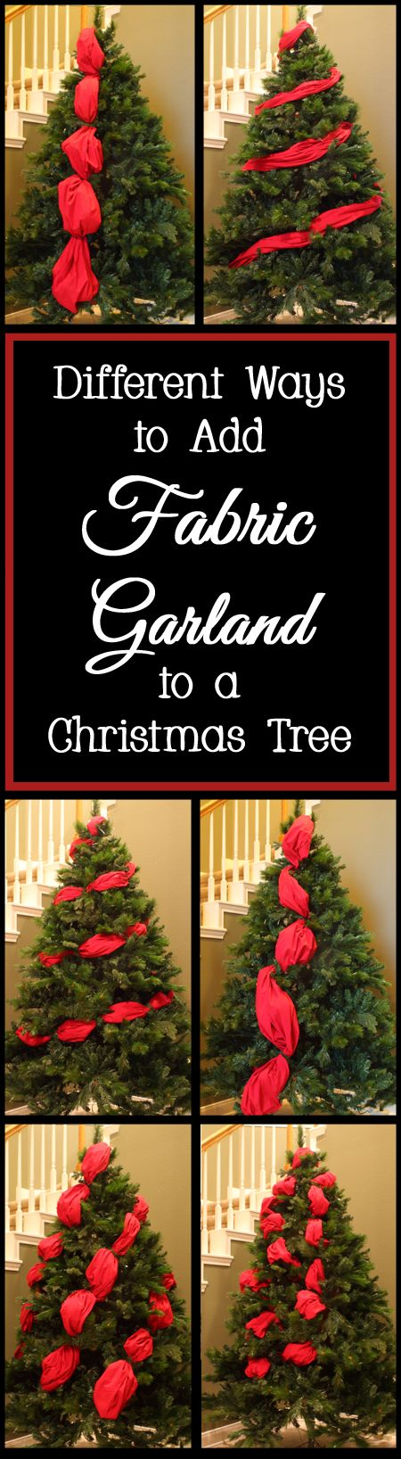 Many people want to add fabric to their Christmas trees for added color, to fill in holes, and to add extra flair to their Christmas decor.  Your fabric can either be added straight from the bolt without any sewing (as shown in the photos be...