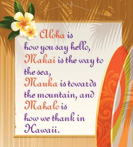 Hawaiian language: Aloha Makai Mauka Mahalo