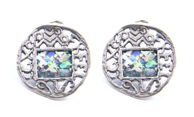 """Stud Fastening925 Sterling Silver, Roman Glass Diameter of earrings: 0.7"""" / 1.7 cm Note: To preserve patina do not allow glass to come in contact"""