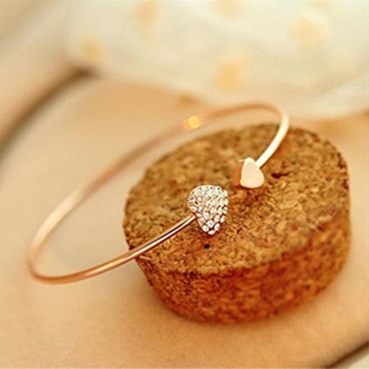 Fashion peach heart crystal love opening gold plated bracelet Rhinestone bracelets Women's bangles