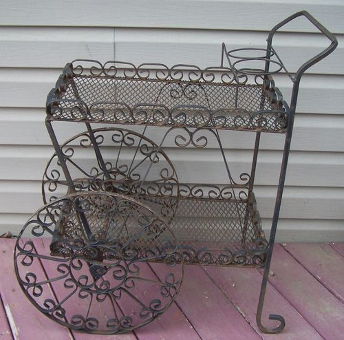 Vintage Wrought Iron Plant Patio Cart Stand Garden Furniture