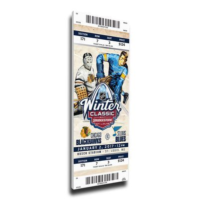 "Chicago Blackhawks vs. St. Louis Blues 2017 Winter Classic 16"" x 36"" Dueling Canvas Mega Ticket"