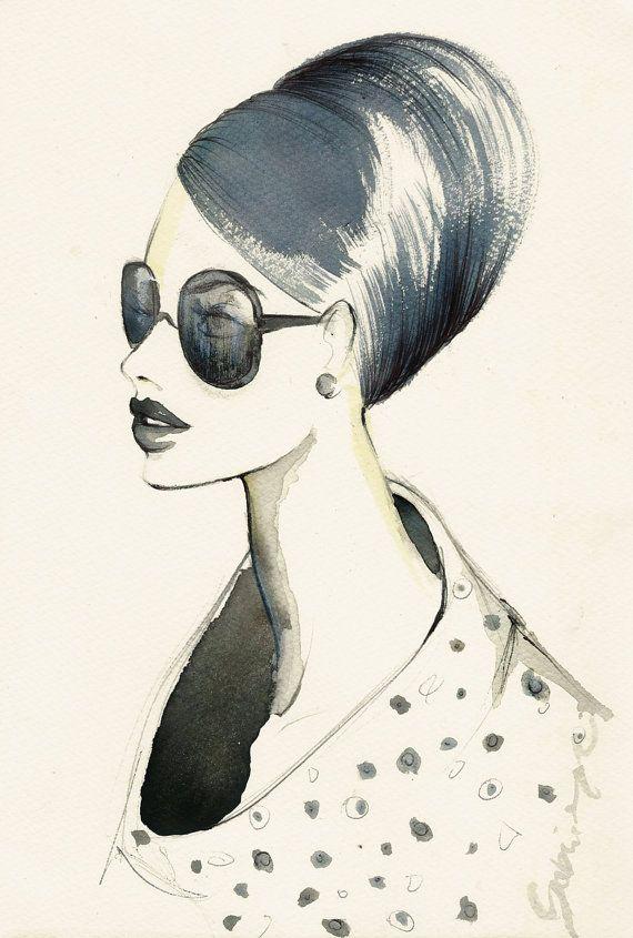 Retrato de dama - ilustración de Acuarela retrato - pintura Original - moda - mujer