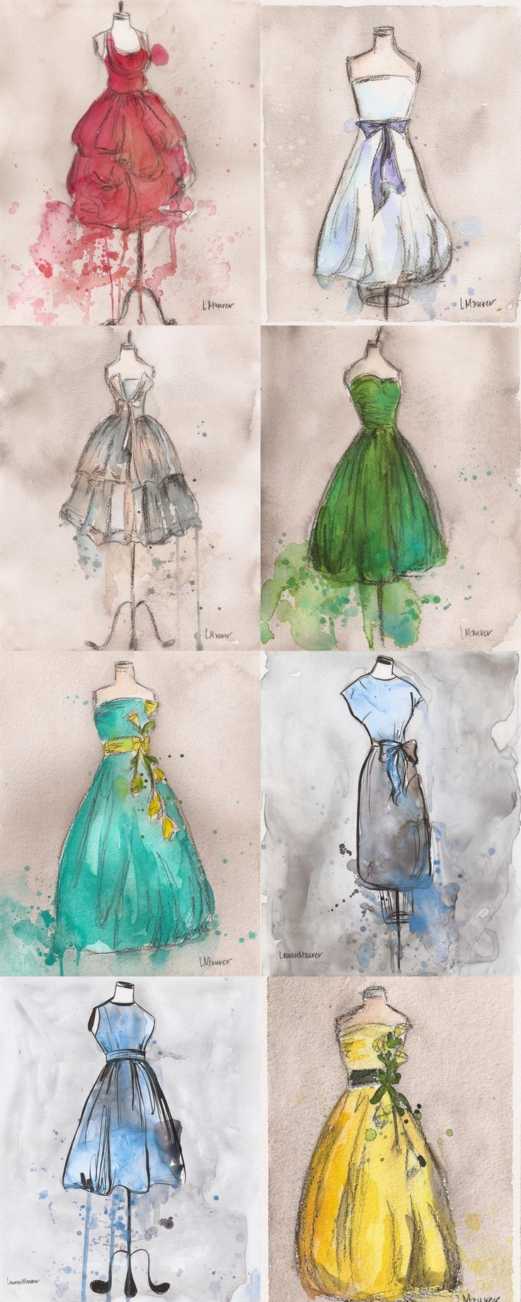 Art ~ Lauren Maurer ~ Watercolour Vintage Dresses!    I am blown away by the beauty of these paintings by Lauren Maurer.  They just seem to capture everything that is wonderful about vintage dresses, in a style that exudes class and softness.  Gorgeous! #fashiondesigndrawings,