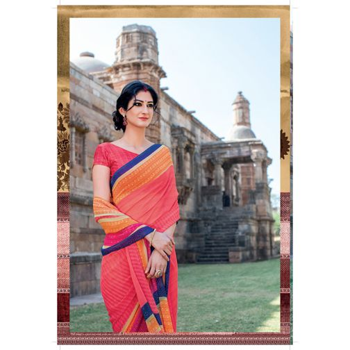 Embellish yourself through this multicoloured #georgettesaree with dark pink coloured rawsilk blouse at best prices from #Laxmipati.  E-mail Us : info@laxmipati.com