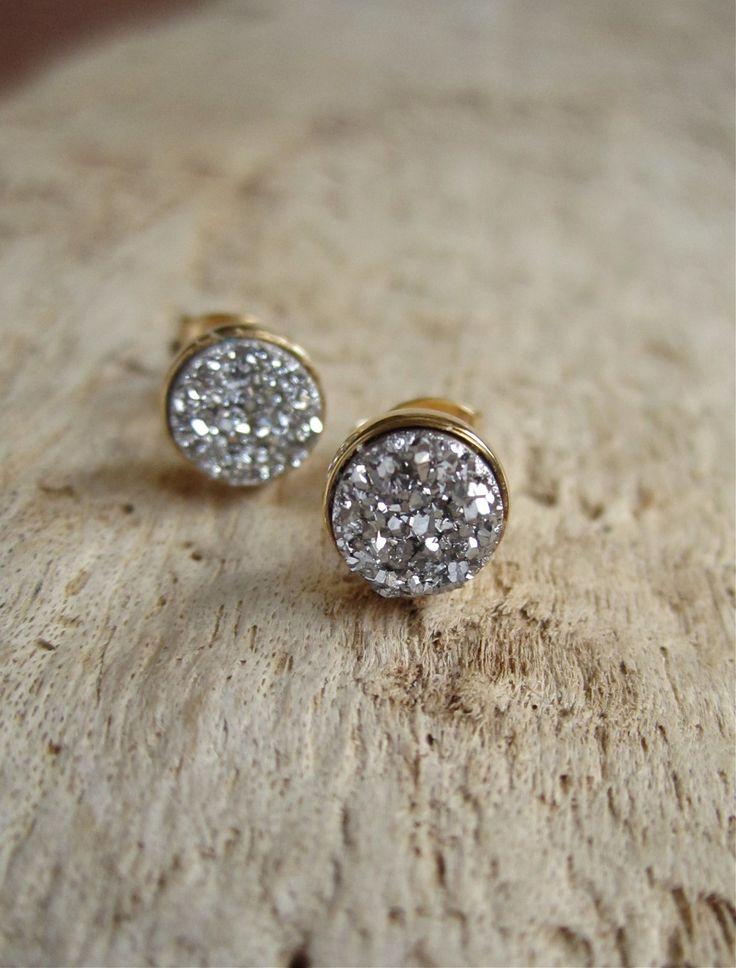 Tiny Silver Druzy Earrings via Etsy.