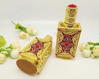 18ml Elegant Empty Perfume Bottle/ Gilding Metal Bottle/ Vintage Glass Perfume Essential Oil Bottle/Cosmetic Jar 188