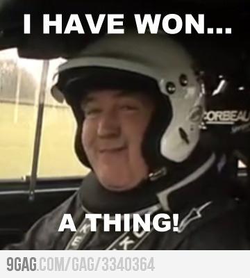 """Jeremy Clarkson's """"Winning Face."""" Love it!"""