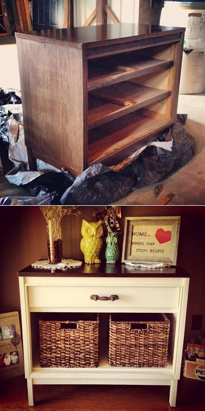 Dresser Makeover. A small version of this would make a great night stand!                                                                                                                                                      More