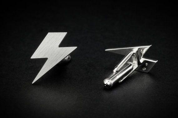 Lightning bolt cufflinks handmade funny 925 sterling by FeinFein