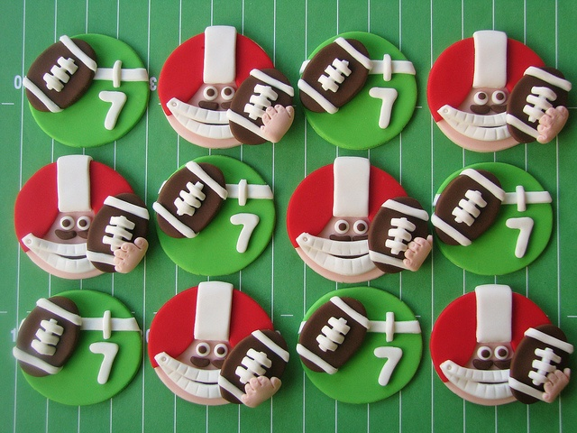 Football Cupcake Toppers by Lynlee's Petite Cakes, via Flickr