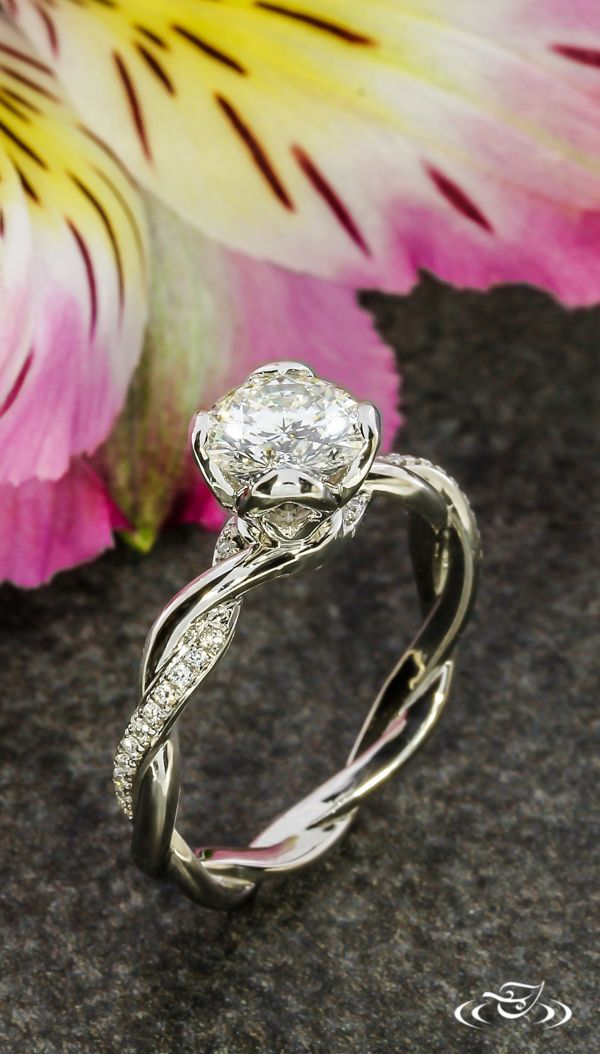 Platinum Twisted Diamond Engagement Ring #GreenLakeJewelry