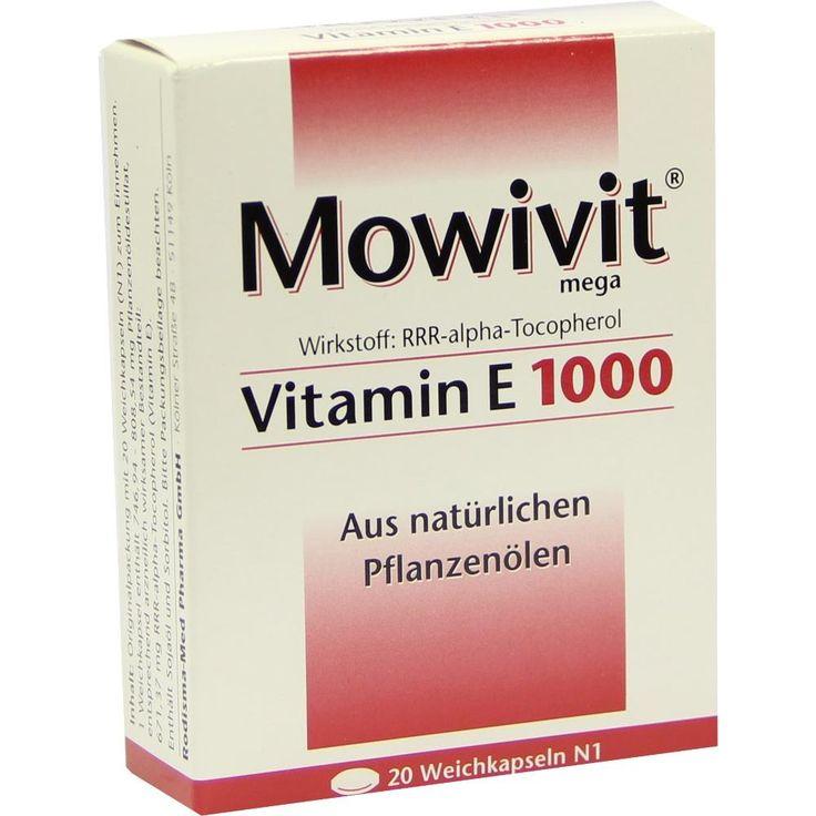 MOWIVIT Vitamin E 1000 Kapseln:   Packungsinhalt: 20 St Kapseln PZN: 00836885 Hersteller: Rodisma-Med Pharma GmbH Preis: 6,07 EUR inkl.…