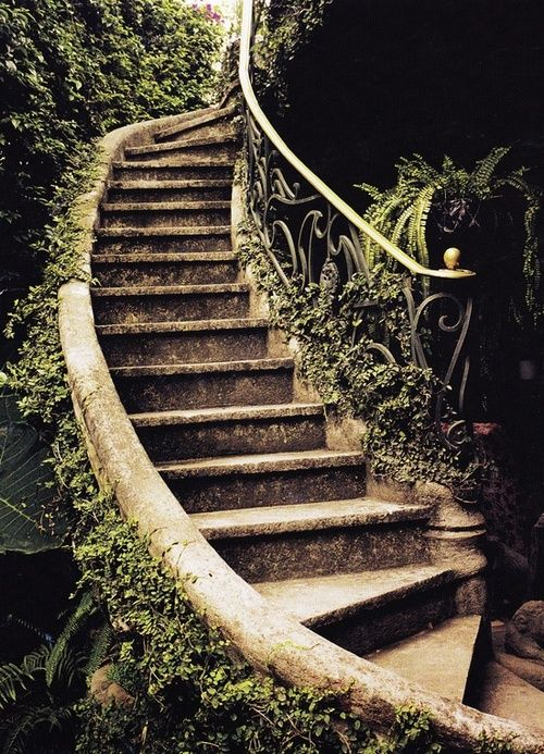 Ancient Garden Stairs, Tuscany, Italy.