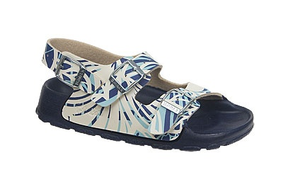 Birki's Aruba - Kids Hibiscus Flower Navy Birko-Flor Puddle stomping and other water activities are no problem for this durable, waterproof sandal. Kids will love the bright colors, too!  The contoured footbed provides good arch support and the soles are slip-resistant for stability on wet surfaces. #birkenstock #birkenstockexpress.com  $29