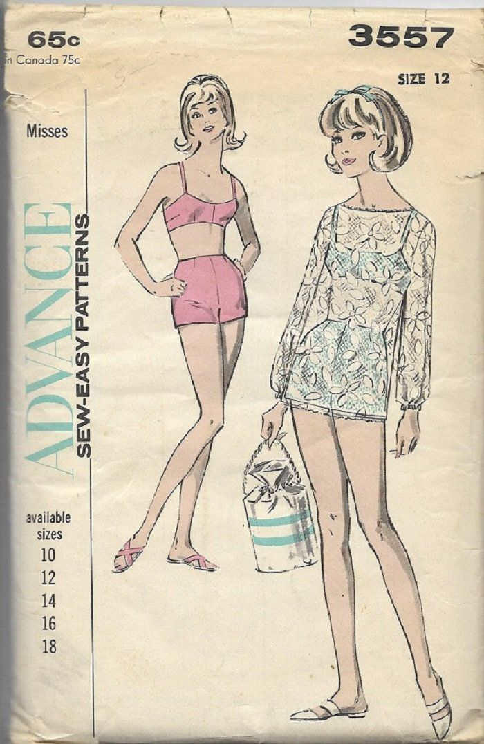 Vntg Advance 3557 Misses Beachwear Sports Separates Sewing Pattern ...