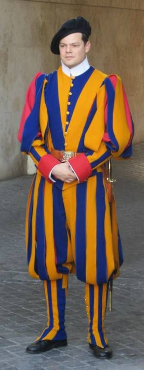 The Pope's Swiss Guard - in what may be the world's most colorful uniform.