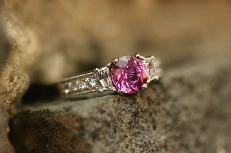 "Pink Sapphire and diamond ring part of our in-store ""Bluestone Wall"" photo shoot! #ExceptionalJewels #BlueStoneWallEdition"