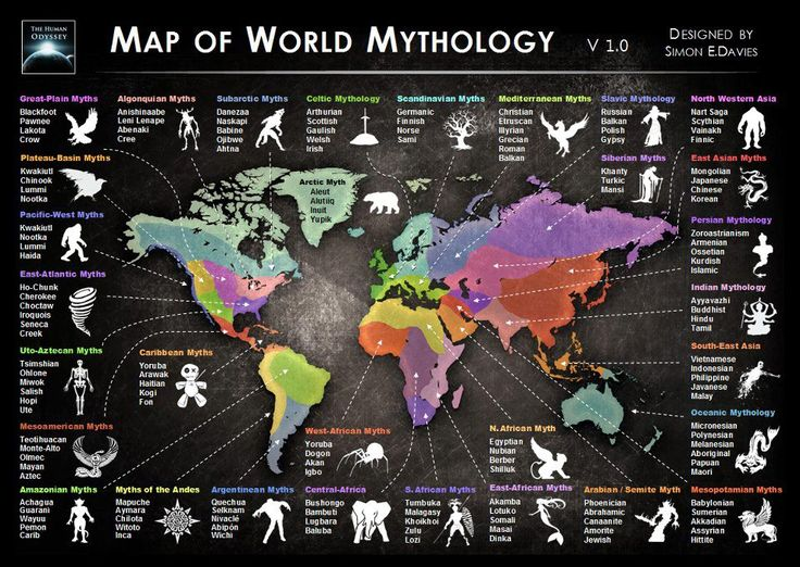 "A Map of World Mythology for many more illustrated maps, Pinner: Erin Bouma - her Board ""Mapping the World"""