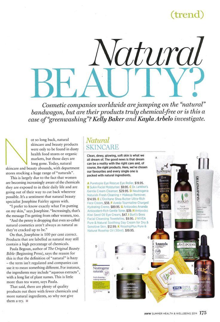 Australian Women's Weekly Summer Health Special (Summer 2013/2014) Sukin Facial Moisturiser features as one to trust in 'Natural Beauty.'