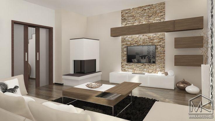 návrh obývacího pokoje s krbem