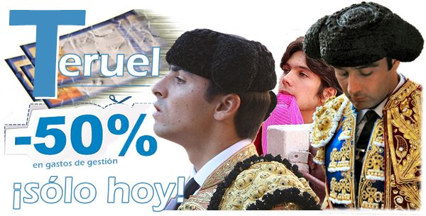 COMBATIMOS LA CRISIS: Sólo hoy 50% de descuento en gastos para ver a Enrique Ponce, Sebastián Castella y Miguel Ángel Perera en Teruel. ¿Vas a dejar escapar la oferta?http://www.toroticket.com/415-entradas-toros-teruel-sabado-6-julio