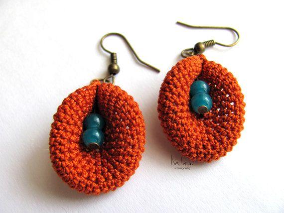 Autumn Orange and blue crochet earrings / cotton and beads / bohemian trends / flower power / elegant flower / statement earrings / fiber