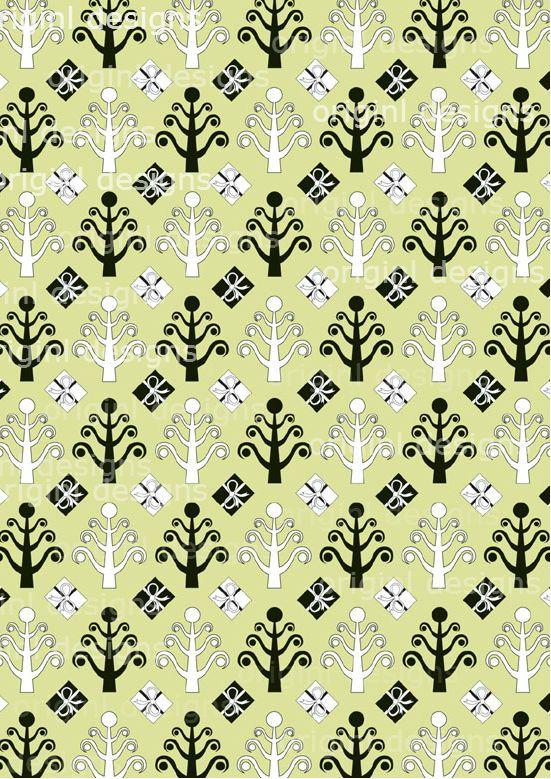 Festive Green Christmas Tree Pattern 2. http://selz.co/1DVHYlD