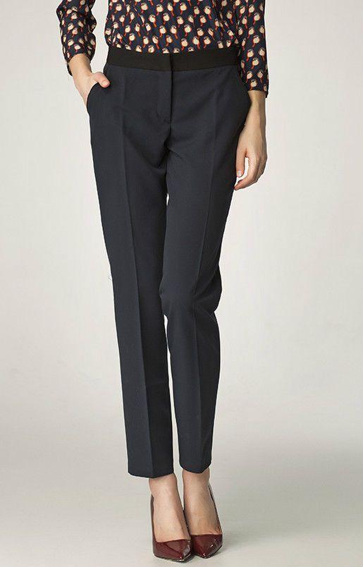 Pantalon Bleu Marine droit Femme Cigarette Habillé SD07 Nife 36 38 40 42 44