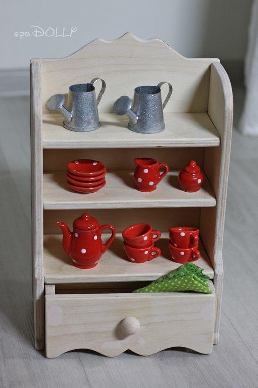 Деревянный кукольный шкаф буфет - бежевый,буфет кухонный,буфет игрушечный