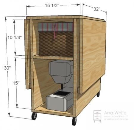 """diy sewing table fr """"small spaces"""" - has room to fit your machine underneath to be pulled out when needed."""