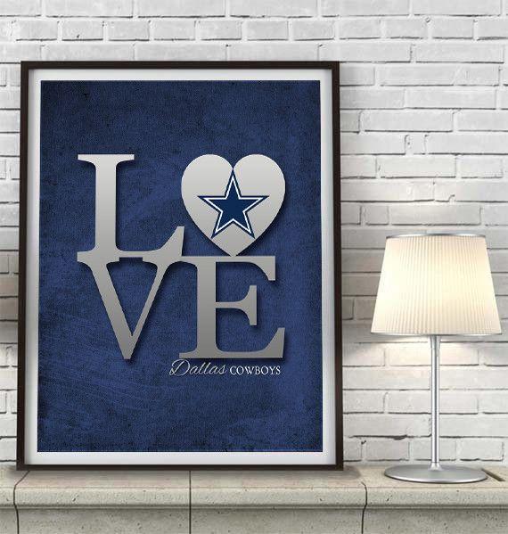Dallas Cowboys Love Art Print Sports Wall Decor Man Cave Gift For