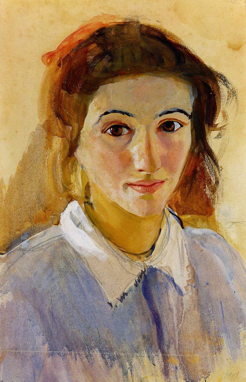 Серебрякова З.Е.. Автопортрет в сиреневой блузе . 1907