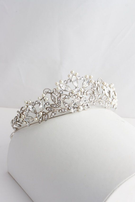 Wedding Tiara Handmade Bridal Crown Pearl Crystal Wedding Tiara Swarovski Crystal Crown Tiara  Wedding Bridal Tiara Rose Gold Tiara AISLINN