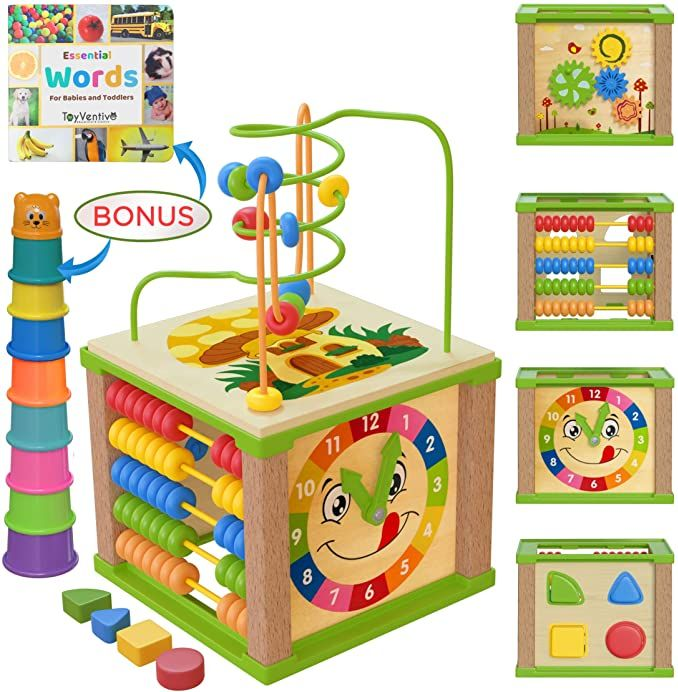 Wooden Kids Baby Activity Cube Boys Gift Set One 1 2 Year Old Boy Gifts Toys In 2020 Activity Cube Baby Infant Activities Toys For Boys