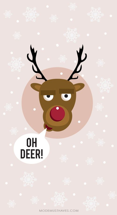 Iphone or Android Oh deer xmas background wallpaper by ModeMusthaves.com