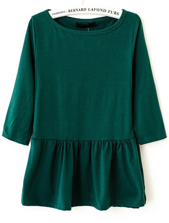 Dark Green Round Neck Long Sleeve Ruffles T-Shirt US$21.80
