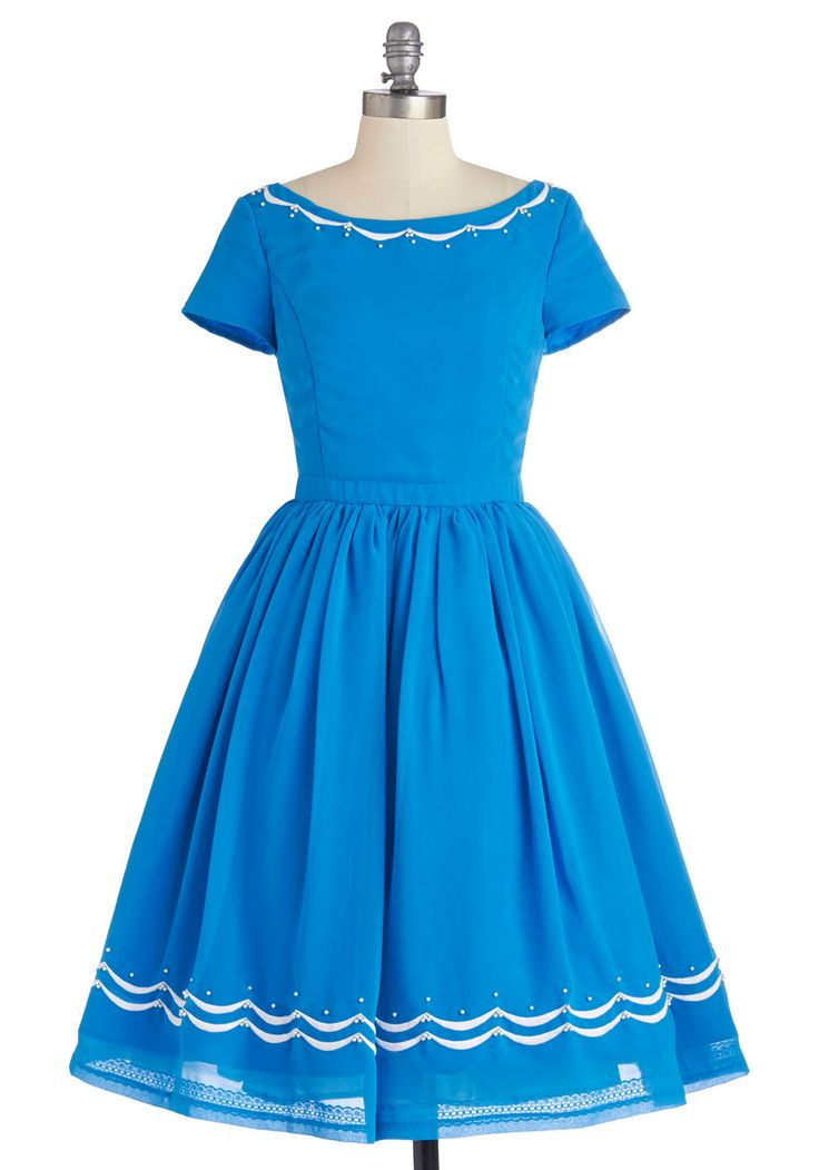 Blue Ribbon Baker Dress. Youre accepting your prize for pastry making at the county fair, taking the stage in this cerulean dress! #blue #modcloth
