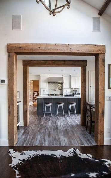 rustic door frame wood beams kitchen molding archway porch doorway architects archways beam trim doors wooden travi faux timber stained