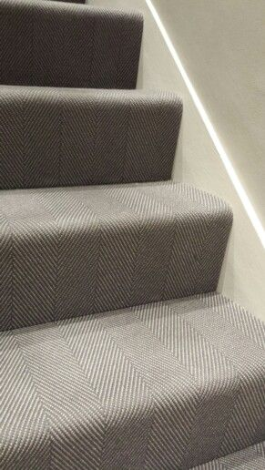 Grey wool herringbone flatweave stair carpet from urbane living in Flannel and Mouse colour