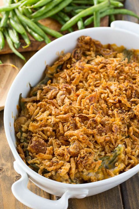 Cheesy Green Bean Casserole: Dive into this cheesy, crunchy, and tasty green bean casserole that uses cheddar cheese and fresh mushrooms for an added kick in each bite.Find more tasty, healthy and easy homemade green bean casserole recipes and ideas for Thanksgiving dinner here.