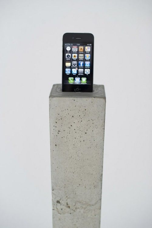 iPhone dock concrete. Wow if you live in your parents basement this will look great. If not it looks terrible aesthetically!