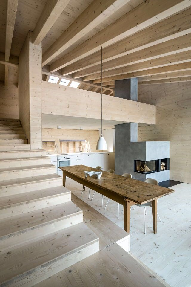 A warm, minimalistic interior with lots of wood