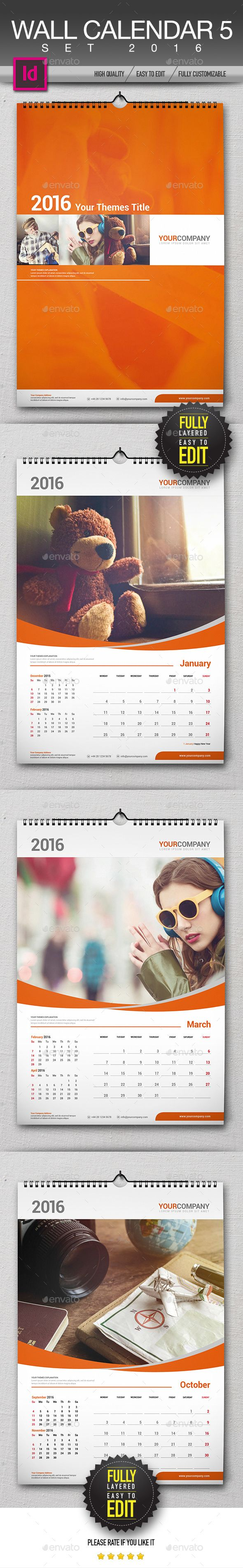 Wall Calendar 2016 Set Template InDesign INDD #design Download: http://graphicriver.net/item/wall-calendar-2016-set/13495864?ref=ksioks