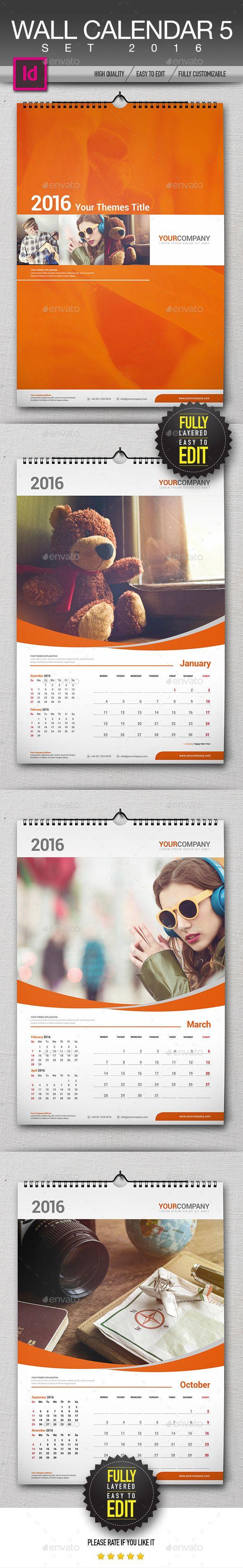 Wall Calendar 2016 Set Template InDesign INDD #design Download: http://graphicriver.net/item/wall-calendar-2016-set/13495864?ref=ksioks