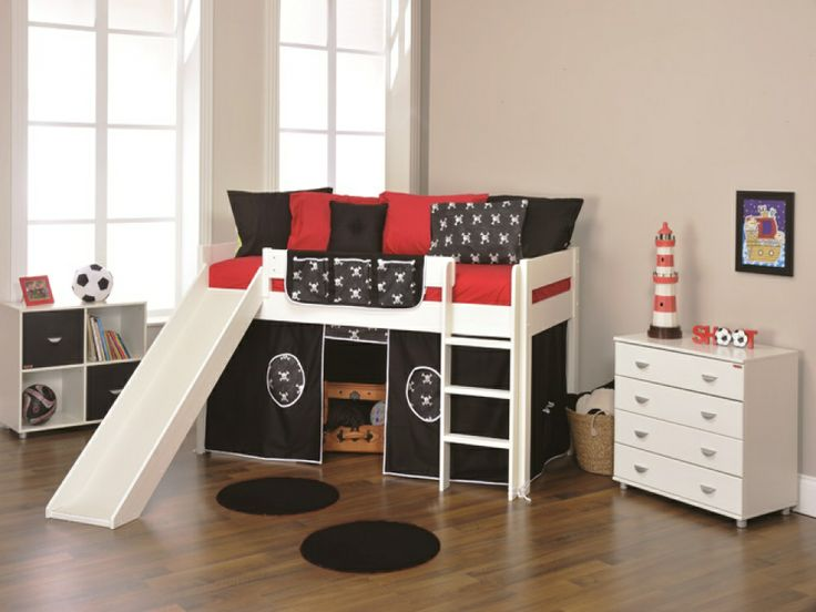 kids bed with slide | ... Play 3 White Mid Sleeper with Tent & Slide | Kids Beds from FADS