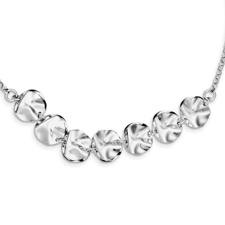 Sterling Silver Rhodium Plated Fancy w/ 2in ext. Necklace QG3424-16