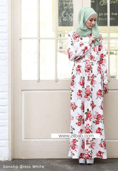 Sansha Dress White - Klik gambar untuk melihat detail dan harga produk Juniperlane di website zilbab.com. Hijab, Jilbab, Fashion Hijab, Juniperlane Hijab, Hijabi, Juniper Hijab, Juniper Lane.
