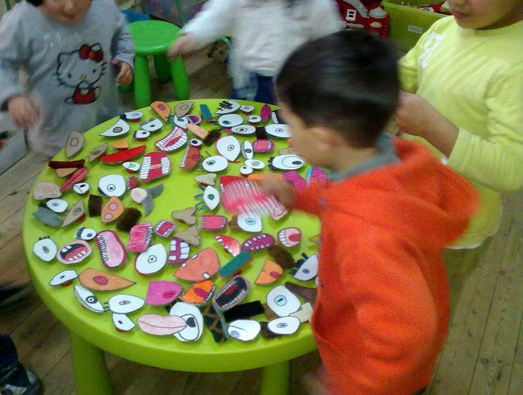 dibujando, dibujando...    ... va aumentando la colección     tapones de rosca pegados a cada pieza       Componiendo caras sobre las mesas...
