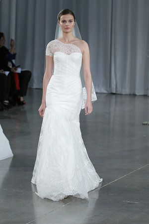 Monique Lhuillier Fall 2013 #bridalmarket-- love how she's doing the one-shoulder trend!